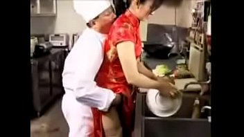 japanese Mature lady fucking video in a restaurant kitchen